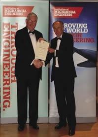Dave Martin (left) receives his I.Mech.E Fellowship certificate
