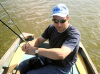 Neil West of Adanac,  Pike fishing on Hickling Broad (Norfolk Broads).