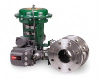 The Fisher FIELDVUE digital valve controller installed on a  Fisher Vee-Ball® segmented ball valve