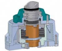 Cutaway diagram of the thrust compensator, showing how the  stem nut is supported on springs to allow expansion and contraction in response to thermal changes without altering the valve position.