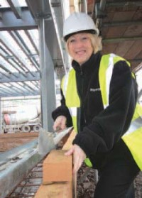 AUMA Actuators Ltd�s company secretary Sue Wilson inspects development work at the company�s new UK