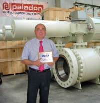 Brian Ennever of Paladon Systems with his plaque.