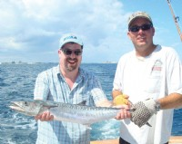 Suitably attired Rob Bartlett with his majestic catch in Florida, but can you identify what fish it is?  There�s �50 to the charity of your choice for the first correct answer.  Here�s a clue � it�s not a Barracuda.  Answers to rob@bvaa.org.uk