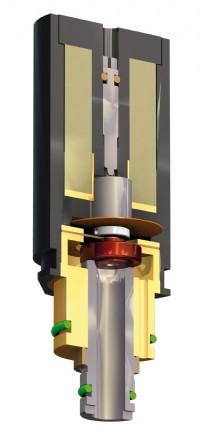 Cutaway view of the ASCO Numatics Preciflow-IPC solenoid valve showing the stainless steel valve seat and body, and FPM diaphragm and seals.