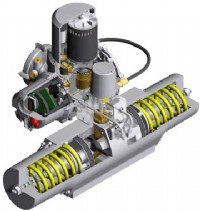 Cutaway drawing of a quarter-turn version of the Rotork Skilmatic SI/EH electro-hydraulic valve actuator, showing (left to right) electronic control module with LCD display and communication window, hydraulic power unit and actuator centre body with failsafe springs.