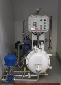 A completed dewatering unit within its compact weatherproof housing