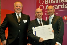 AUMA representative Markus Zeller with the European Business Award nomination certificate. Pictured left: Manfred Krause, member of HSBC and main sponsor, right: Adrian Tripp, CEO of European Business Awards.