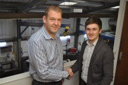 Pictured from left to right in CVS's Aberdeen Workshop Facilities: Mac Stevenson, Sales Manager welcomes Nathan Gardiner, Internal Sales Engineer