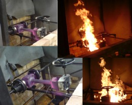 Cryogenic top entry ball valve undergoing a fire test