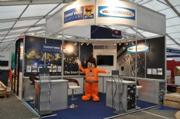 CVS's company mascot Valve Tech Vinnie at OE11 during stand build-up