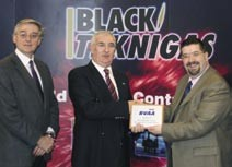 Black Teknigas: Sales Director Peter McEntee and MD DaveMartin, accepting their BVAA Membership plaq