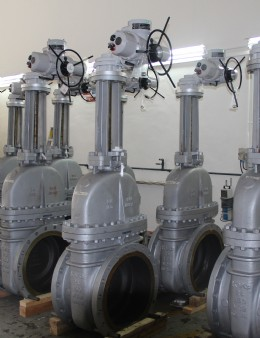 Work in progress at the Rotork Singapore workshop. Actuated valves await despatch tothe Pulau Bukom site