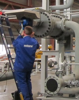 A Rotork engineer carries out the installation of a CVA actuator on one of the pre-heater skids at the Petrogas Gas Systems factory