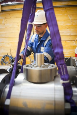 EnerMech valve technician Brian Lowrie carries out valve testing at the company�s new Aberdeen facility