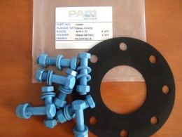 A DN100 diameter PN16 fixed flange joint set from Saint Gobain PAM UK showing gasket, Rilsan coated bolts, nuts and washers