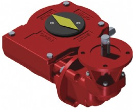 W100 gearbox attached to quarter-turn gearbox