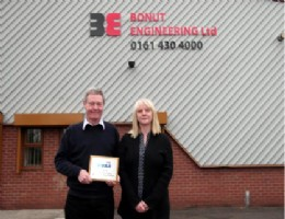 Directors, of Bonut Angela Ditchfield and Brian Travis, outside the main factory in Bredbury, Stockport.