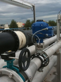 A Rotork CVA actuator installed on an air supply line feeding the biogas production process