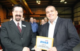 Rob Bartlett hands Mick Beavers a shiny new BVAA Member Plaque for the new CVS facility.