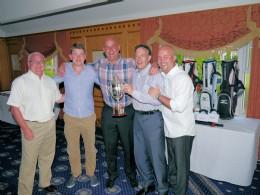 BVAA Chairman Neil Kirkbride congratulates winners Matthew Riach and Neil Jackson (Score) and Peter Burnett and Andy Will of Heap & Partners.
