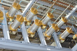 A rack of FloMaster air-operated valves by CPV Manufacturing, Inc. controls gas mixtures precisely to assure accurate, repeatable fills.