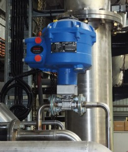 """A Rotork CVA actuator (model number CVQ1200) installed on a 6mm (¼"""") V-port ball valve in the Samos Polymers manufacturing plant at Sydney, New South Wales."""