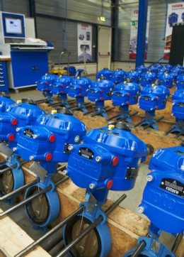 Some of the Rotork CVA actuators for the DanTysk project, fitted to butterfly valves and ready for despatch from Rotork Holland�s actuation workshop facility.