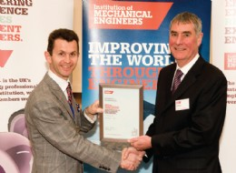 Mark Hunt, President of IMechE presenting EnerMech's Phil Bentley with his Fellowship accreditation