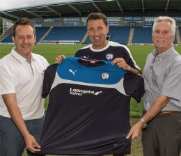 Leigh Pickering (commercial director, Leengate Valves), Spireites manager Dean Saunders and Steve Pickering (managing director, Leengate Valves). Photo by Tina Jenner