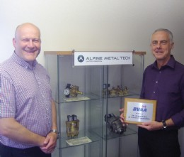 Graham Morris, Managing Director (left) and Geoff Leese Product, Manager Valves, pose with the BVAA plaque and some of their valve products.