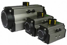 A J+J rack and pinion pneumatic actuator in stock at Pershore, UK