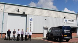 Sales team; Dave Halliwell, Reece Wyatt, Colin Evans, Alan Wareing, Phil Crombleholme & Wayne Oldham outside LK Valves & Controls Liverpool premises.