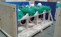12˝ actuated valves housed in the packing cases to avoid damage during transit