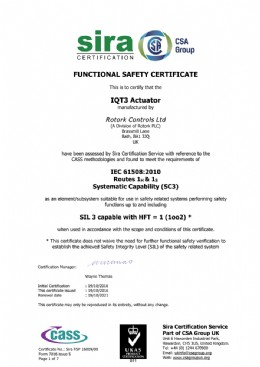 Reproduction of Certificate by kind permission of Rotork Controls Plc