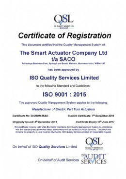 Latest version of the ISO 9001 Certification.