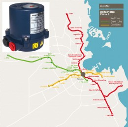 Rotork is supplying 2,500 compact ROM electric valve actuators for tunnel ventilation dampers on the new Doha Metro.