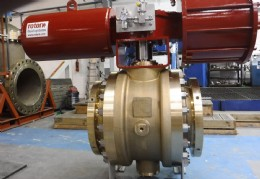 "Orseal 16"" flanged valve in Brass HTB1/Monel trim with pneumatic actuator"