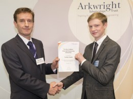 From left to right : Mark Ward, Webtec, presenting the Roy Cuthbert Scholarship award to George Cheeld