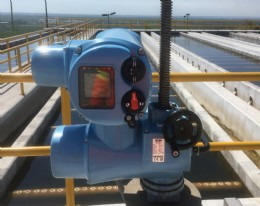 One of the new Rotork CKc actuators (Model number CKc60) during installation at the Los Horcones waste water treatment plant.