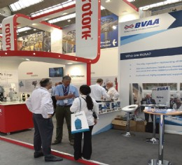 BVAA�s Martin Greenhalgh helping visitors at the BVAA stand at Achema