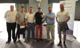 BVAA Cup winners: Golf Sponsor Martin Peat of DMR Seals with (L to R) Matthew Riach, Dean Holroyd, Peter Burnett, BVAA Director Rob Bartlett and Mark Topliss