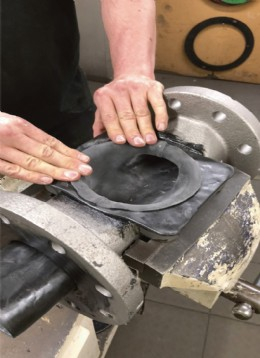 A demonstration of traditional hand-lining of diaphragm valves at Crane