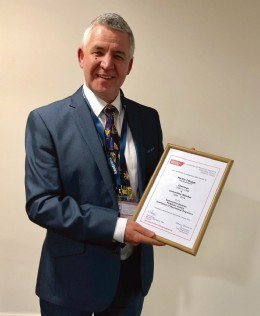 Dr Martin Haigh MBE recieves an award on behalf of the I.Mech.E