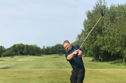 Stuart Billingham from Kent Introl at the Golf Day. Great swing Stuart!