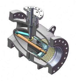 Section of a single-stage axial regulating valve