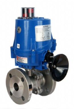 Flanged PN16 stainless steel ball valve with electric actuator