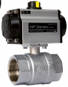 Brass ball valve with spring-return pneumatic actuator