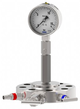 Pressure gauge with an overpressure protector and a monoflange at the process.