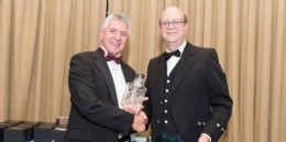 Dr Martin Haigh MBE receives his BVAA Champion award from Chairman Colin Findlay