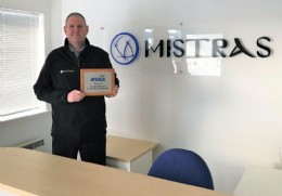 Alan Duncan at the Mistras Aberdeen office with his members plaque